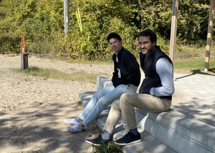 Nick and Steven taking a break at Pointe Pelee National Park