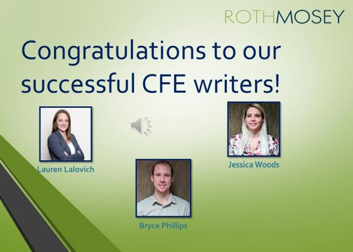 Congratulations to our Successful CFE Writers