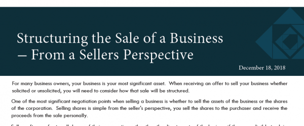 Structuring the Sale of a Business – From a Sellers Perspective